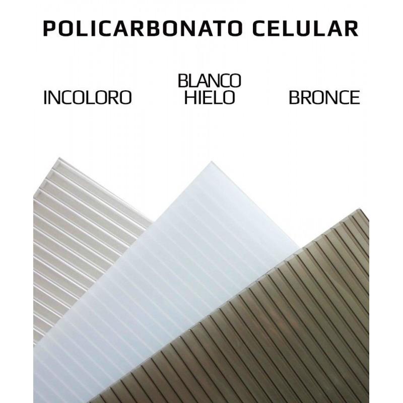 Marquesina de exterior de policarbonato alveolar Grosor 3 mm. Transparente Soportes de pl/ástico