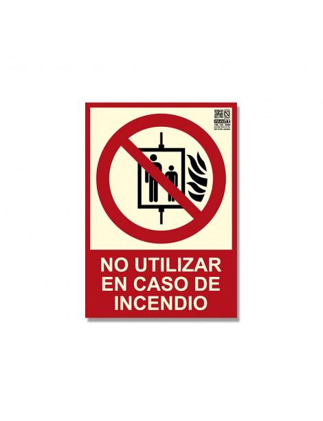 """Señal """"No utilizar en caso de incendio"""" Clase B"""