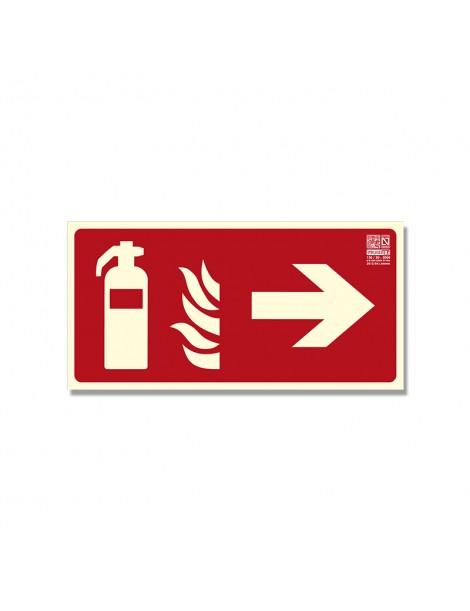 Señal extintor con flecha Clase B - Derecha