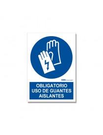 "Señal ""Obligatorio uso de guantes aislantes"""