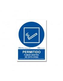 """Señal """"Permitido fumar dentro de esta zona"""""""