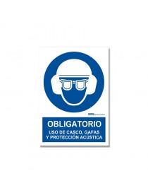 """Señal """"Obligatorio uso de casco, gafas y protección acústica"""""""