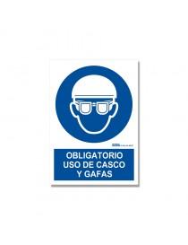 """Señal """"Obligatorio uso de casco y gafas"""""""