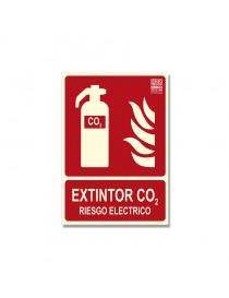"""Señal """"Extintor CO2 Riesgo eléctrico"""" Clase B"""