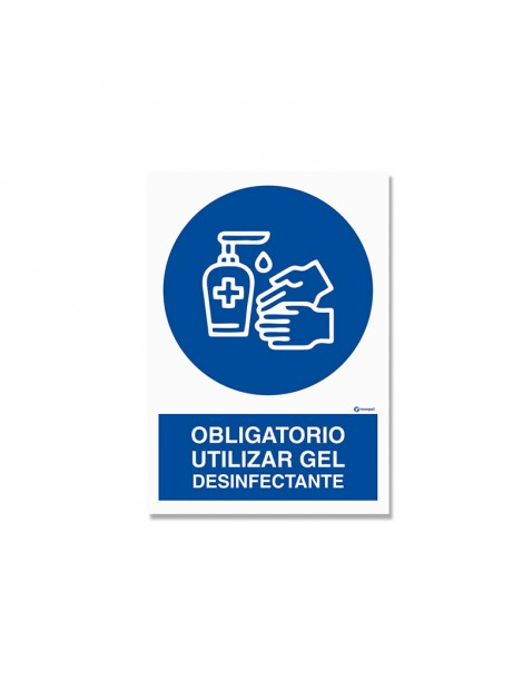"""Señal """"Obligatorio utilizar gel desinfectante"""""""