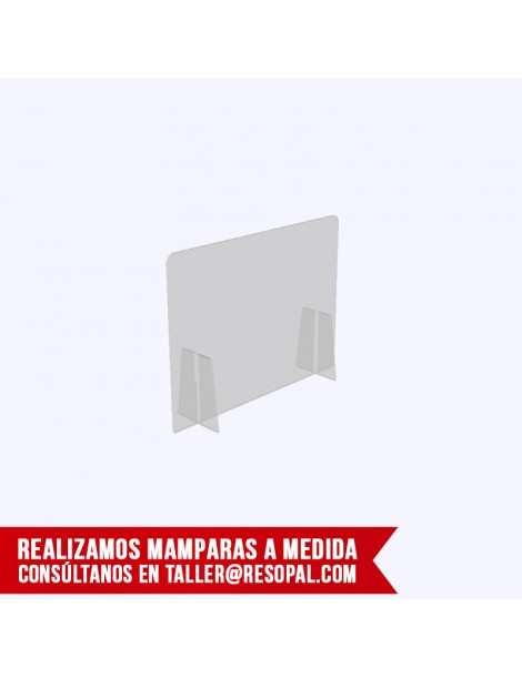 Mampara transparente encajable para oficina 2 patas
