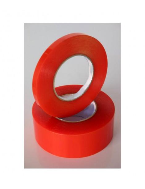 Cinta de doble cara acrílica transparente con soporte rojo